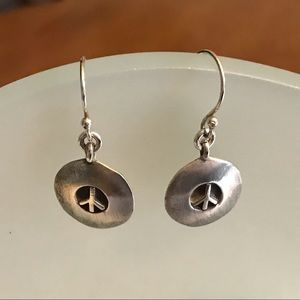 Solid Disc Shaped Sterling Silver Peace Earrings